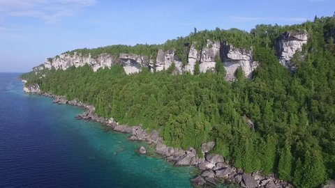 Low altitude drone flight along shores of the spectacular Bruce Peninsula