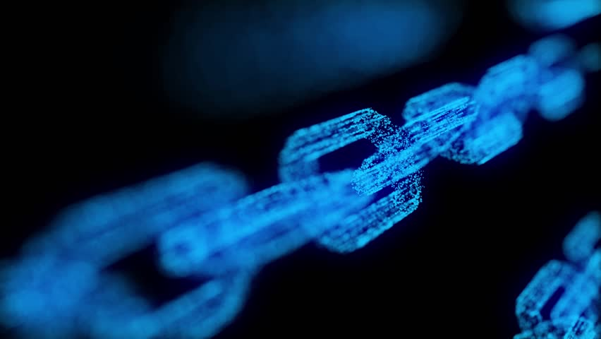 Block chain blockchain crypto currency connected multi-function blue chain particle closeup