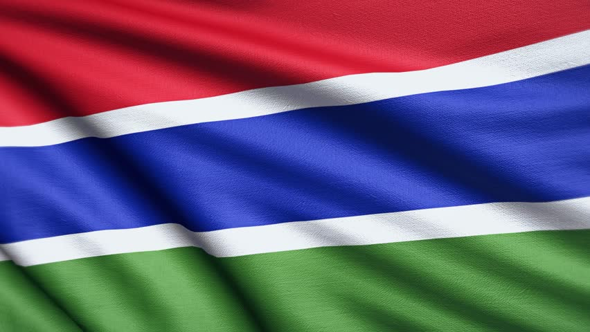 Gambia Flag 4K. Realistic Looping Animation With Highly Detailed Fabric