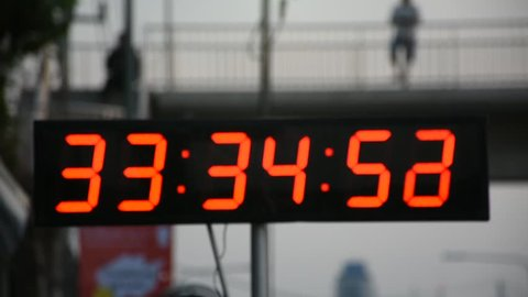 Stopwatch or digital timer for timer runner running in charity event and marathon race run at Nonthaburi city in Nonthaburi, Thailand
