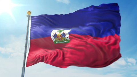 Haiti flag seamless looping 3D rendering video. 3in1:Includes isolated on green screen and alpha channel as luma matte for easy clipping