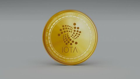 4k iota coin IoT Crypto Currency Logo 3D rotates finance monetary business animation.
