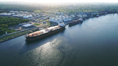 Docked Oil Tanker Ships Loading, Aerial View