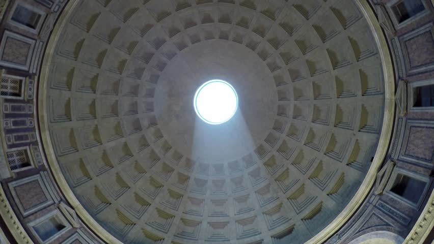 Rome Italy Pantheon dome footage panning around the oculus showing the sky and the dome roof  this concrete coffered dome is poured into moulds the building is a popular tourist attraction in Rome