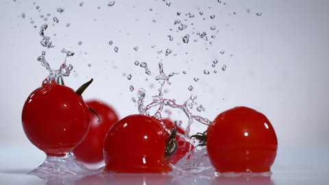 Tomatoes water splash in super slow motion, shot with high speed camera Phantom VEO 4K , 1000fps.