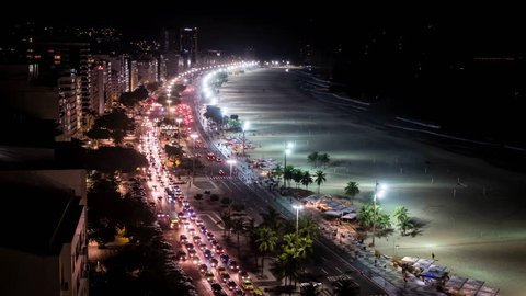 Time Lapse Of Night Traffic On Copacabana beach, viewed from above, Rio de Janeiro, Brazil