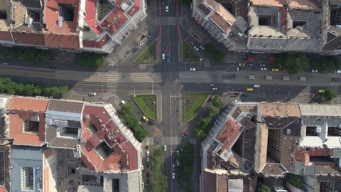 Aerial view of round squares in central Budapest - drone video