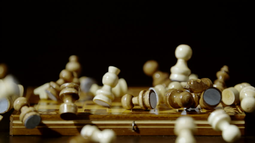 Chess pieces on a chess board, Ultra Slow Motion