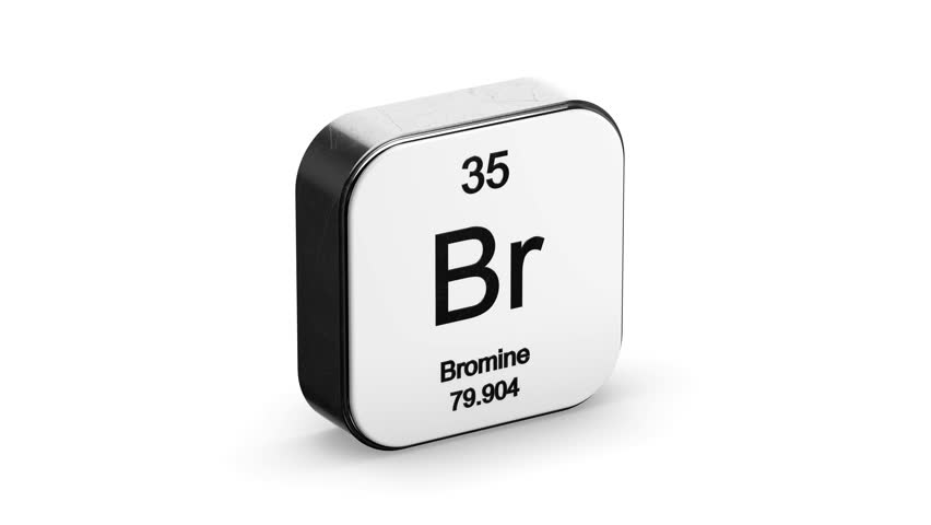 Bromine element symbol from the periodic table on white metallic rounded square icon 3D animation