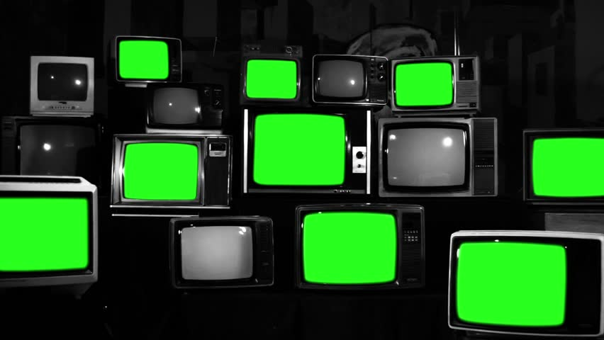 Many Tvs with Green Screens Turning Off. Black and White Tone. Zoom Out. Aesthetics of the 80s. Ready to Replace Green Screens with Any Footage or Picture you Want.  | Shutterstock HD Video #1012060199