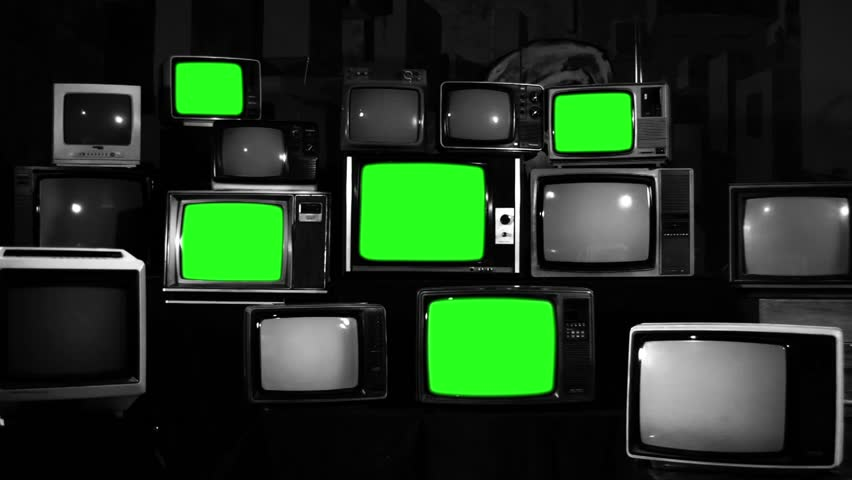 Various Retro TVs Turning Off Green Screen. Aesthetics of the 80s. Zoom Out. Black and White Tone. | Shutterstock HD Video #1012060199