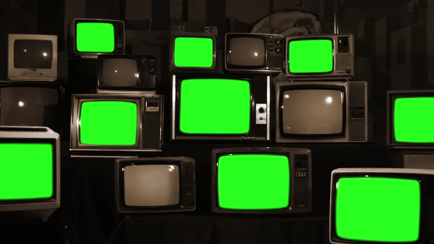 Many Tvs with Green Screens Turning Off. Sepia Tone. Zoom Out. Aesthetics of the 80s. Ready to Replace Green Screens with Any Footage or Picture you Want.  | Shutterstock HD Video #1012062419