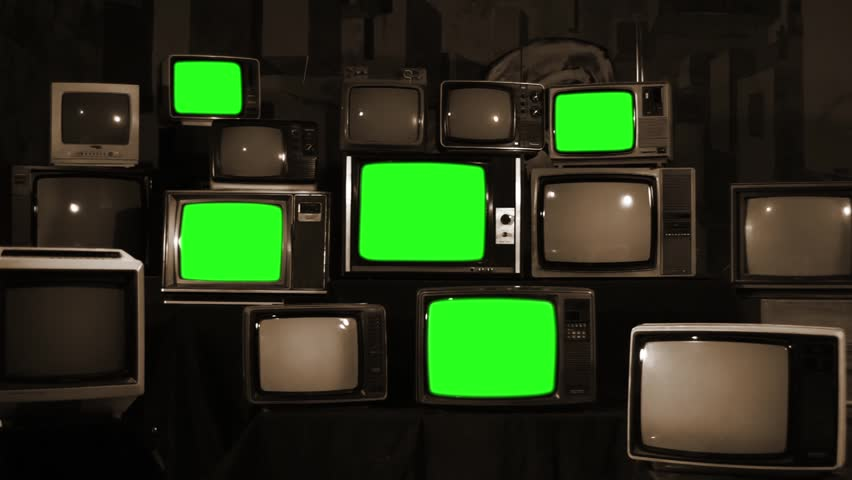 Stack of Retro TVs Turning Off Green Screen. Sepia Tone. Zoom Out.   | Shutterstock HD Video #1012062419