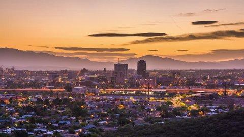 Tucson, Arizona, USA downtown skyline with Sentinel Peak at dawn.