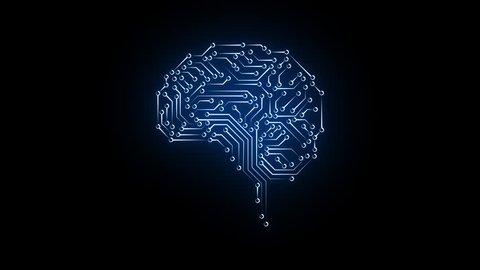 Digital brain and CPU. Digital network. Computing.