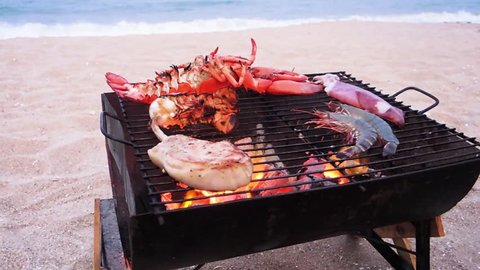 Seafood Grilled on the beach