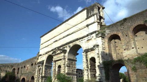 "The Porta Maggiore (""Larger Gate""), or Porta Prenestina, is one of the eastern gates in the ancient but well-preserved 3rd-century Aurelian Walls of Rome."
