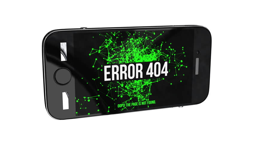 Smartphone with Page Not Found Error 404. Abstract Network Moving Background. Green Dots Connected by Lines on black background.