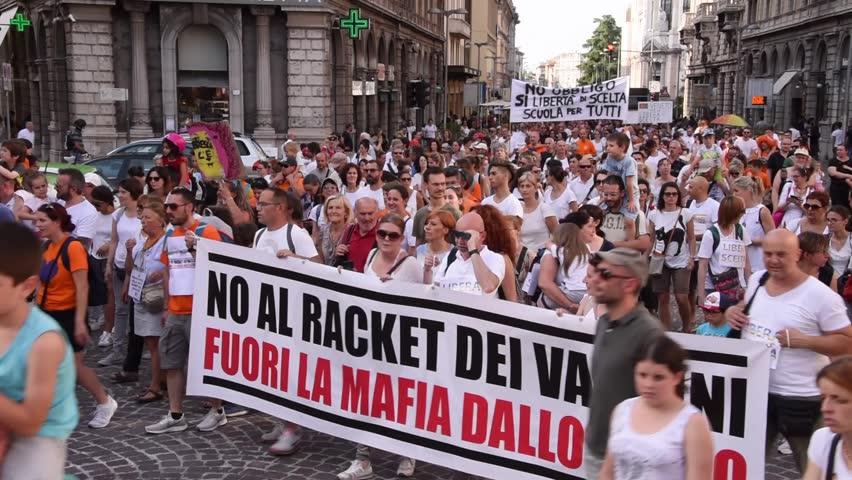Saturday 9 June 2018, Padua, Veneto, Italy - Parents demonstrate against the mandatory vaccination
