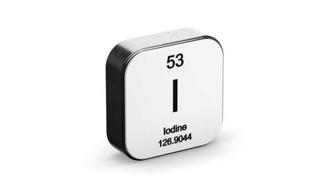 Iodine element symbol from the periodic table on white metallic rounded square icon 3D animation