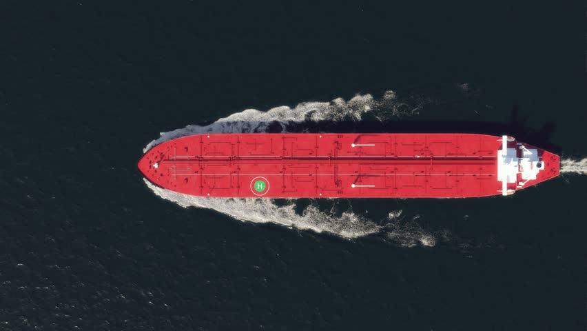 oil tanker floating in the ocean, top view