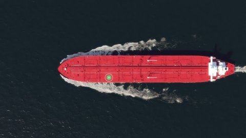oil tanker floating in the ocean, top view
