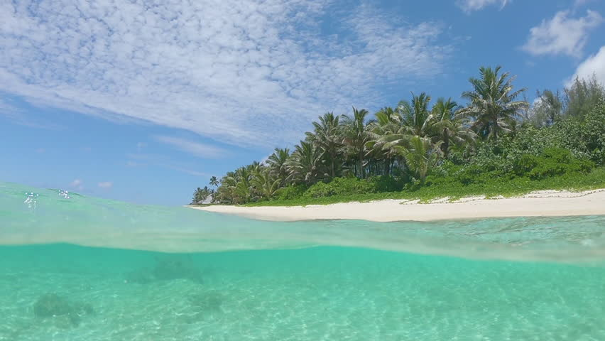 SLOW MOTION, HALF UNDERWATER: Idyllic sandy beach is being washed by the gentle glassy ocean waves on a perfect summer afternoon. Breathtaking shot white sand shore and palm trees in the Maldives.