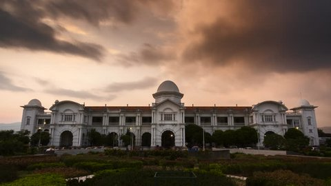 Timelapse at Majestic Ipoh Train Station,Ipoh,Malaysia during Sunset.4k