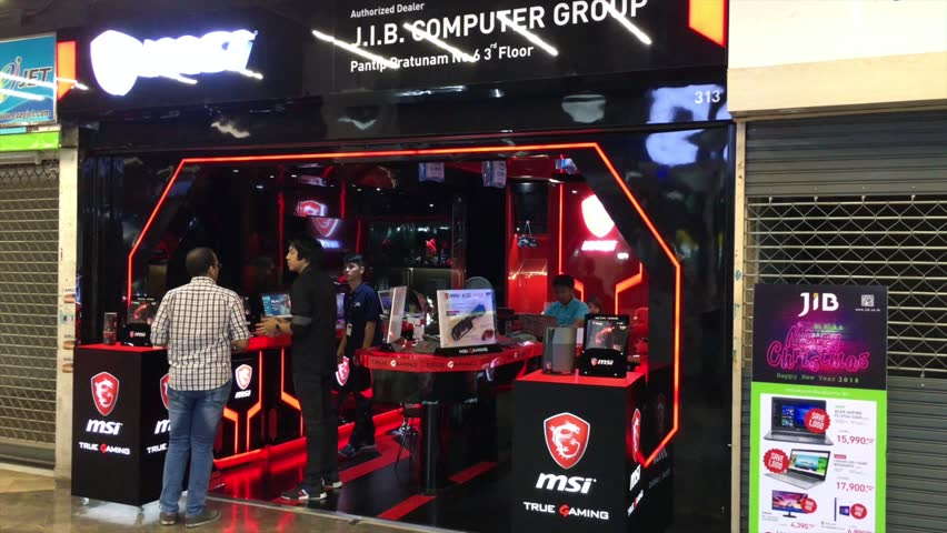 de1804c20c1 BANGKOK - DECEMBER 2017: J.I.B. Computer Group store in Pantip Plaza.  Pantip Plaza is a major source of unauthorized copies of software with  software for ...