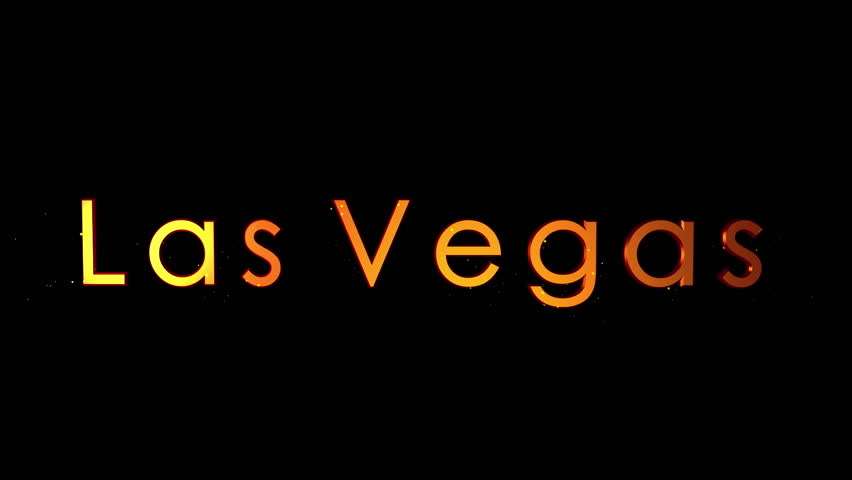 """""""Las Vegas"""" Text Animation. Reflective letters track inward with particles. Tourist Destination Title  