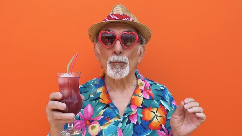 Grandfather funny moments on colored backgrounds | Shutterstock HD Video #1012187369