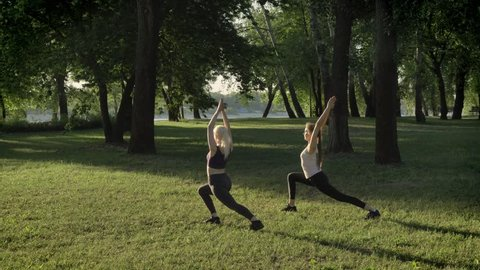 Two young womans doing yoga in park near river during morning, lens flare and beautiful view background