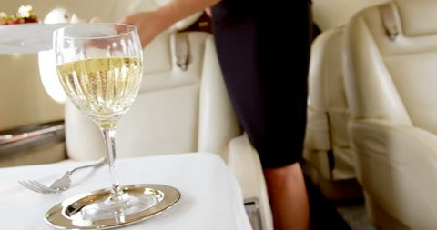Mid section of flight attendant serving sweet food in private jet 4k