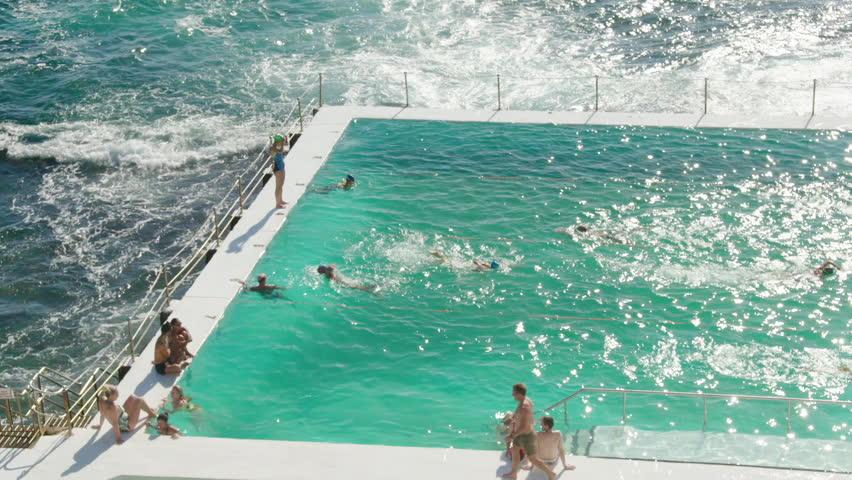 Swimmers swim at the Bondi Icebergs Swimming Club Sydney, Australia 2017