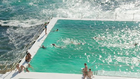 Swimmers swim at the Bondi Icebergs Swimming Club Sydney, Australia 2017