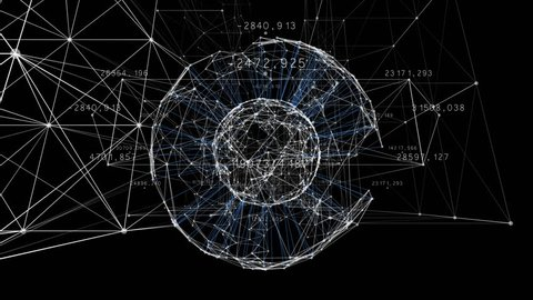 Beautiful 3d Animation of Growing Business Network Moving Through Grid with Numbers and Graphs. Global Business and Technology Concept.
