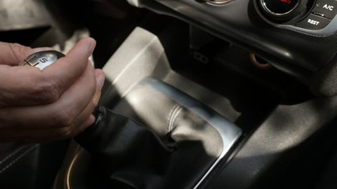 Changing gear with stick slow motion video