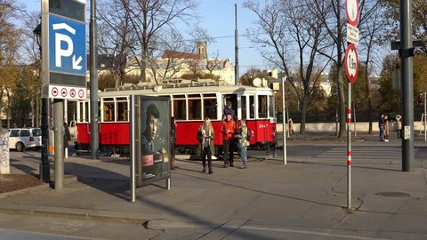Vienna, Austria - November 2017: Vintage tram on the streets of Vienna.. Austria. Vienna Wien is the capital and largest city of Austria, and one of the 9 states of Austria.