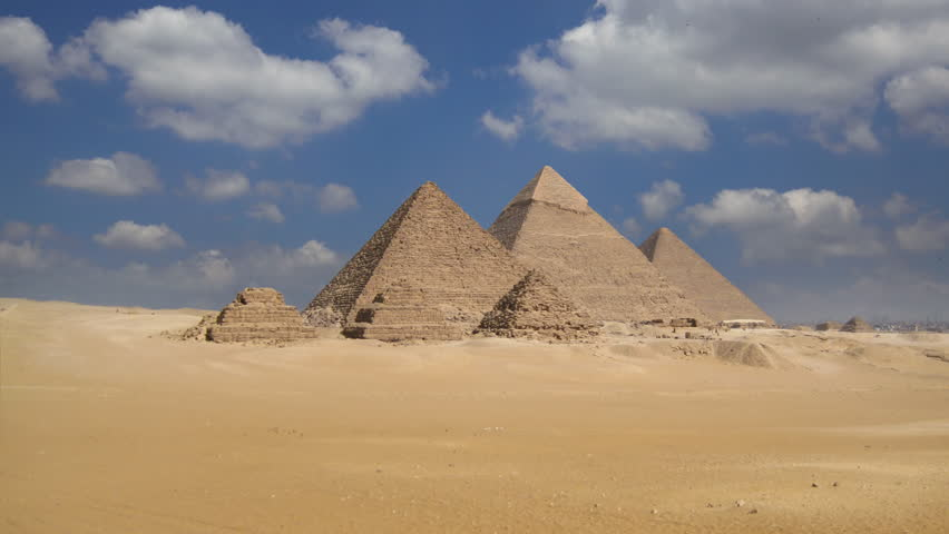 Dolly shot of the great pyramids in Giza valley, timelapse, Cairo, Egypt
