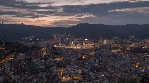 View of Barcelona night timelapse from Bunker del Carmel. Catalonia, Spain.