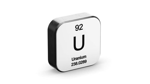 Uranium element symbol from the periodic table on white metallic rounded square icon 3D animation