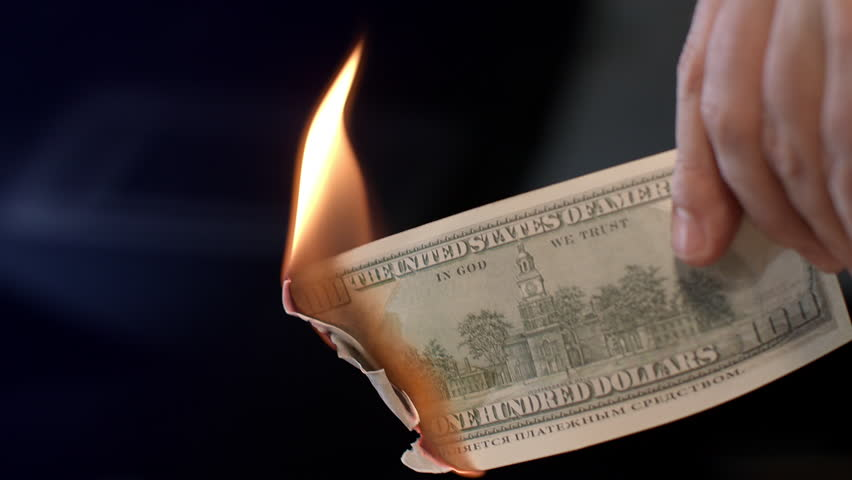 Male hand burning dollar banknote. Man burning money cash. Financial crisis and depressed economy. Paper money loss concept. Fire money concept | Shutterstock HD Video #1012329239