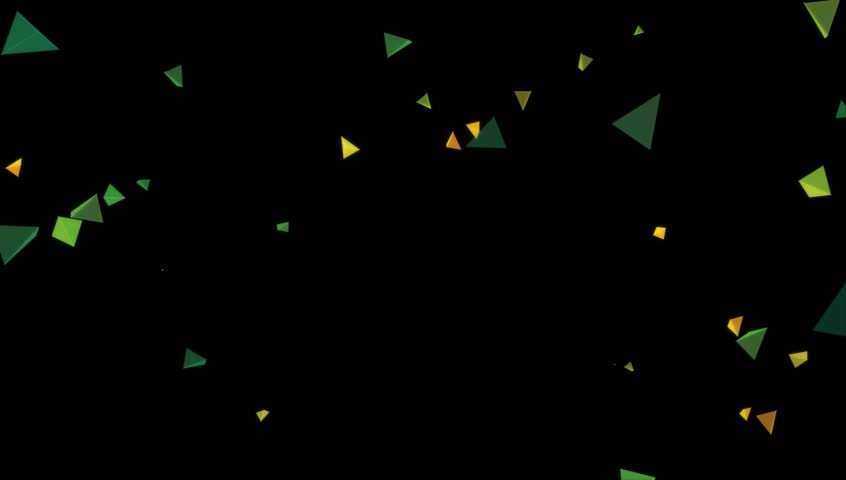 4K Triangle polygon moving in black background, useful for motion graphics, digital and info graphics, low poly abstract element.
