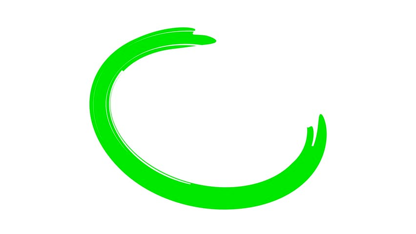 Circle draw on white background, 9 animated design elements of highlighting, green marker animation with alpha channel.