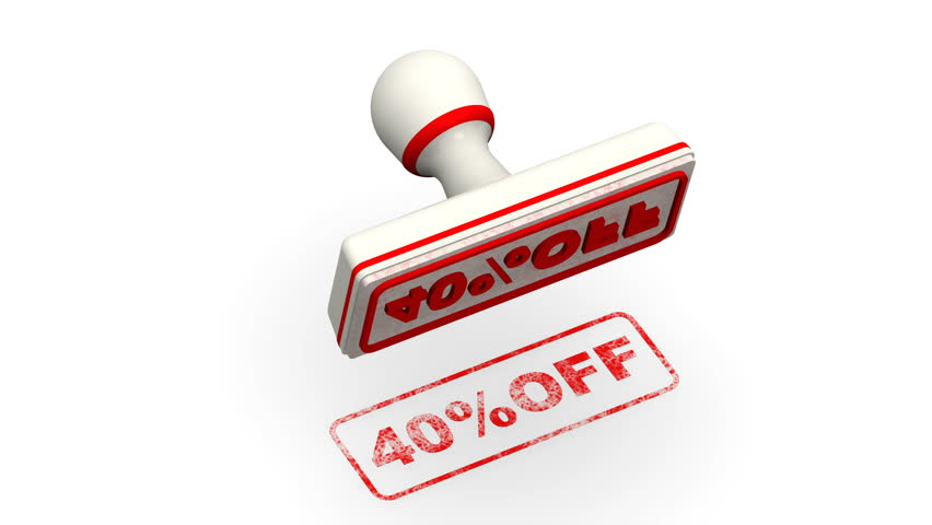 40 percentage off. The stamp leaves a red imprint 40%OFF on white surface. Footage video | Shutterstock HD Video #1012398389