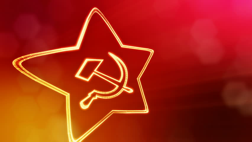icon of USSR. Background made of glow particles as vitrtual hologram. 3D seamless animation with depth of field, bokeh and copy space. Red version 3