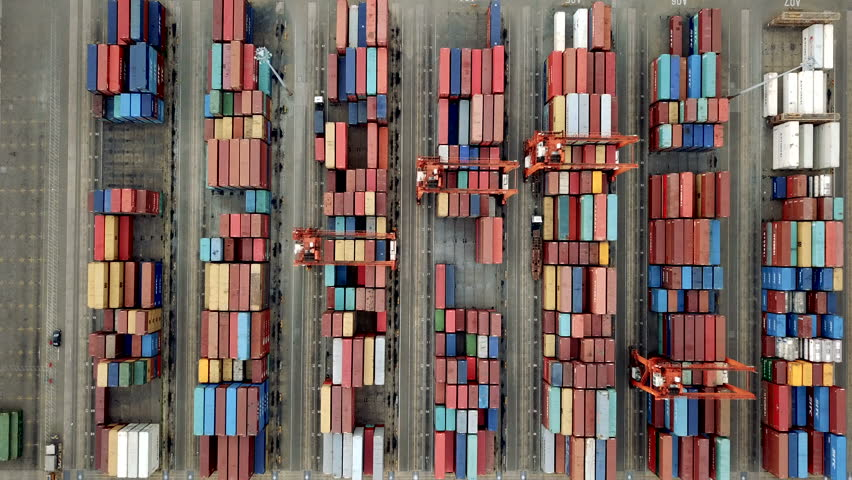 Aerial view of finding cargo container  #1012457519