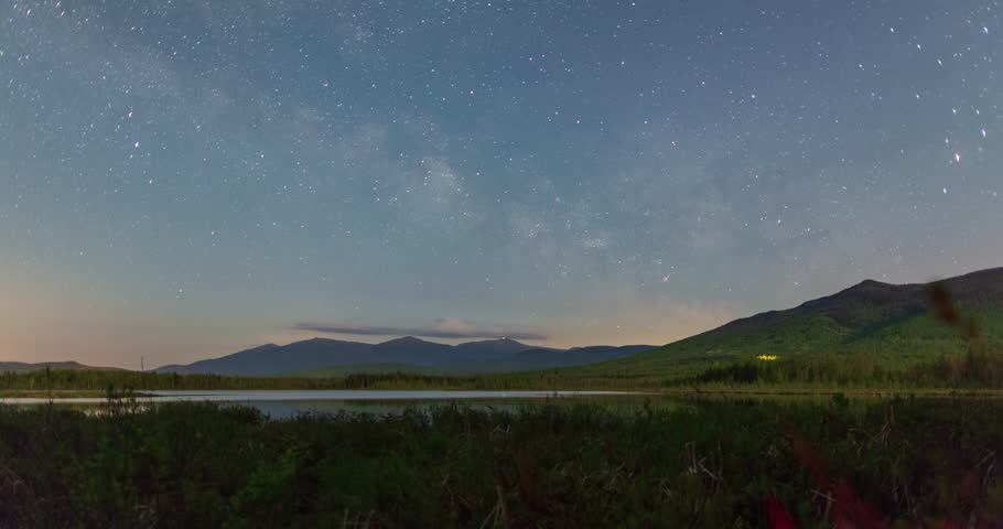 The Milky Way Passing Over The White Mountains View From Cherry Pond In New Hampshire