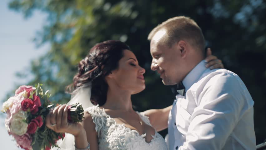 Lovely wedding couple ride with open car roof | Shutterstock HD Video #1012519019