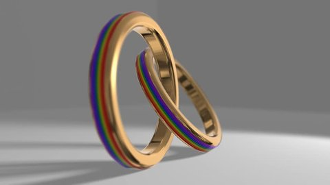 Same-sex marriage gay pride LGBT gay marriage wedding ring 3D render